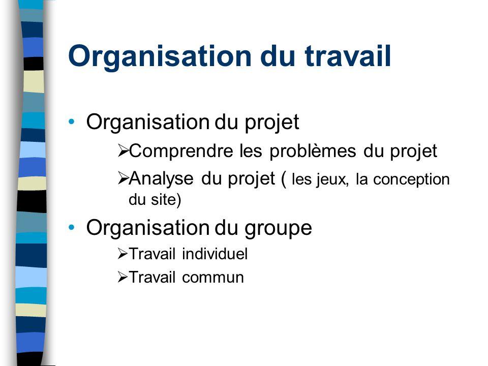 Organisation du travail Organisation du projet Comprendre les problèmes du projet Analyse du projet ( les jeux, la conception du site) Organisation du
