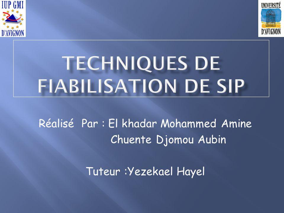 Réalisé Par : El khadar Mohammed Amine Chuente Djomou Aubin Tuteur :Yezekael Hayel