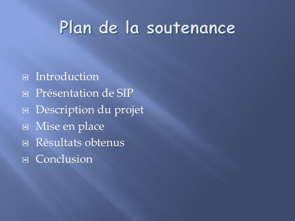 Introduction Présentation de SIP Description du projet Mise en place Résultats obtenus Conclusion