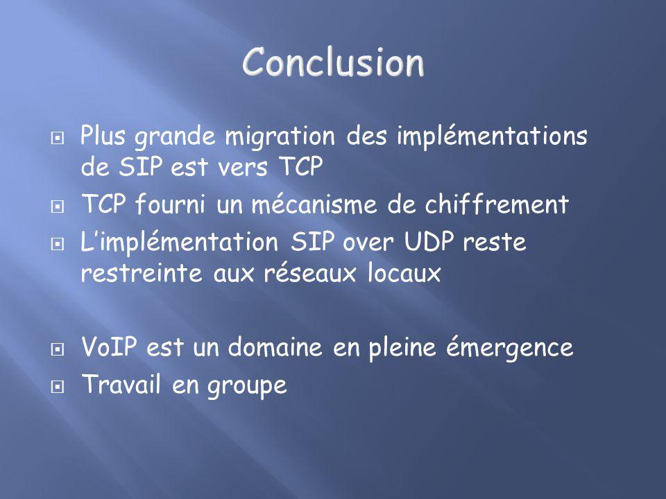 Plus grande migration des implémentations de SIP est vers TCP TCP fourni un mécanisme de chiffrement Limplémentation SIP over UDP reste restreinte aux réseaux locaux VoIP est un domaine en pleine émergence Travail en groupe