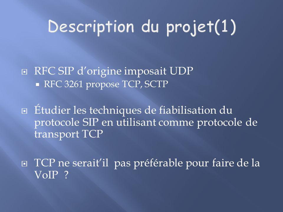 RFC SIP dorigine imposait UDP RFC 3261 propose TCP, SCTP Étudier les techniques de fiabilisation du protocole SIP en utilisant comme protocole de transport TCP TCP ne seraitil pas préférable pour faire de la VoIP ?