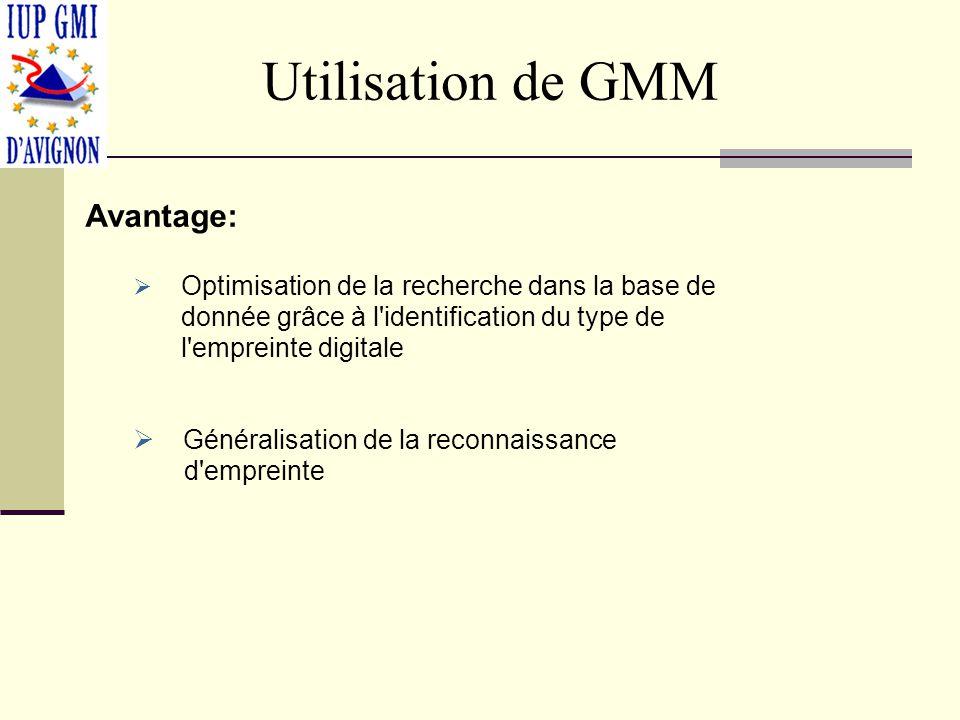 Utilisation de GMM Avantage: Optimisation de la recherche dans la base de donnée grâce à l identification du type de l empreinte digitale Généralisation de la reconnaissance d empreinte