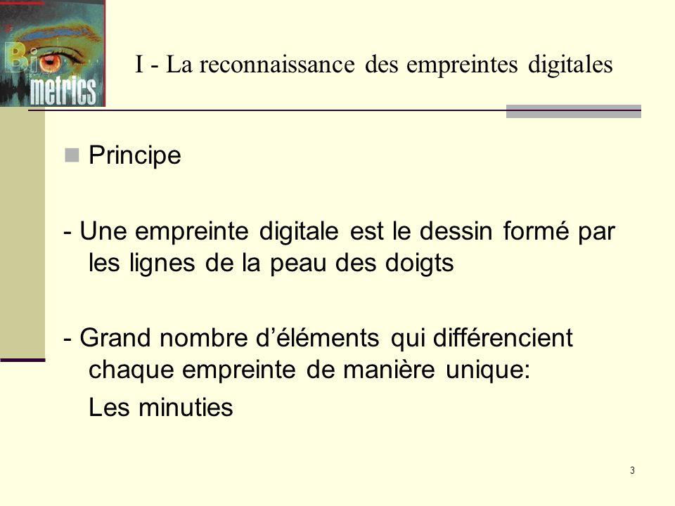 3 I - La reconnaissance des empreintes digitales Principe - Une empreinte digitale est le dessin formé par les lignes de la peau des doigts - Grand nombre déléments qui différencient chaque empreinte de manière unique: Les minuties