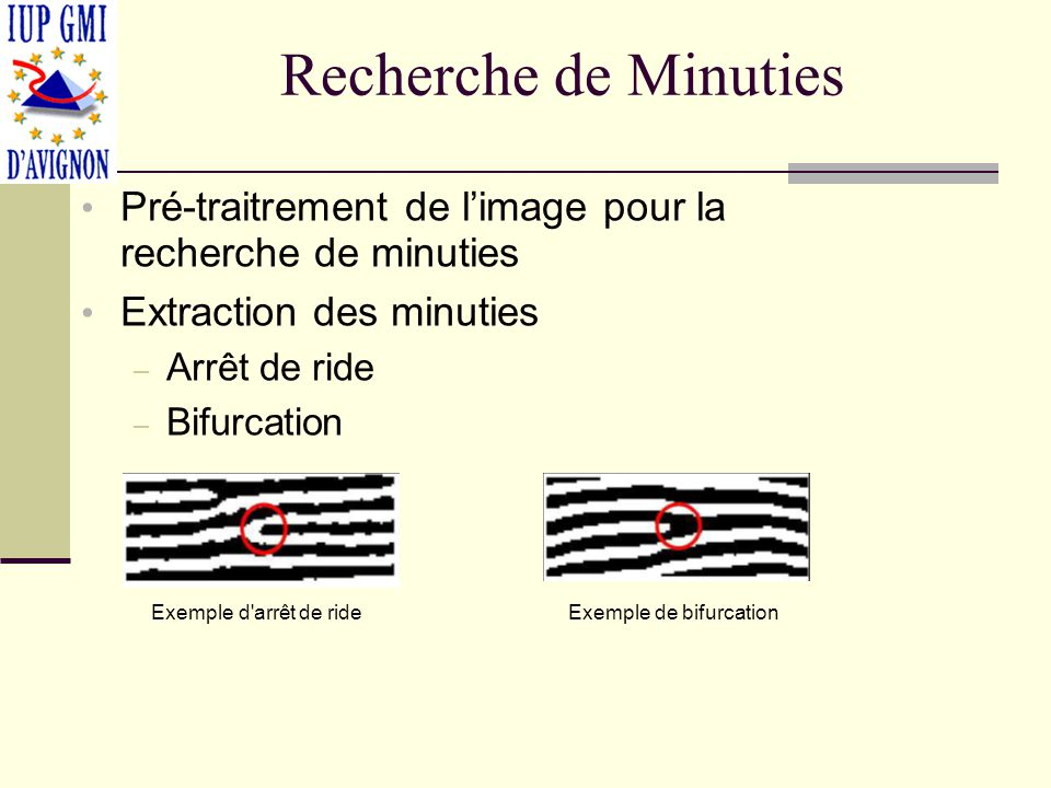 Recherche de Minuties Pré-traitrement de limage pour la recherche de minuties Extraction des minuties – Arrêt de ride – Bifurcation Exemple d'arrêt de