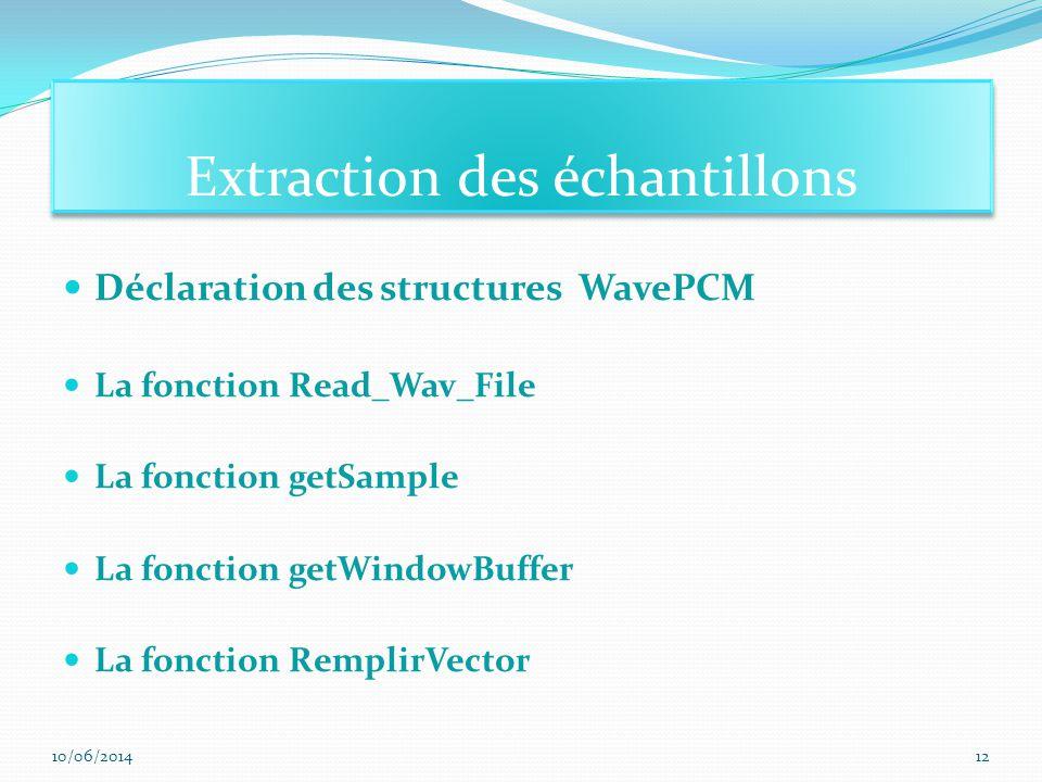 Déclaration des structures WavePCM La fonction Read_Wav_File La fonction getSample La fonction getWindowBuffer La fonction RemplirVector Extraction des échantillons 10/06/201412