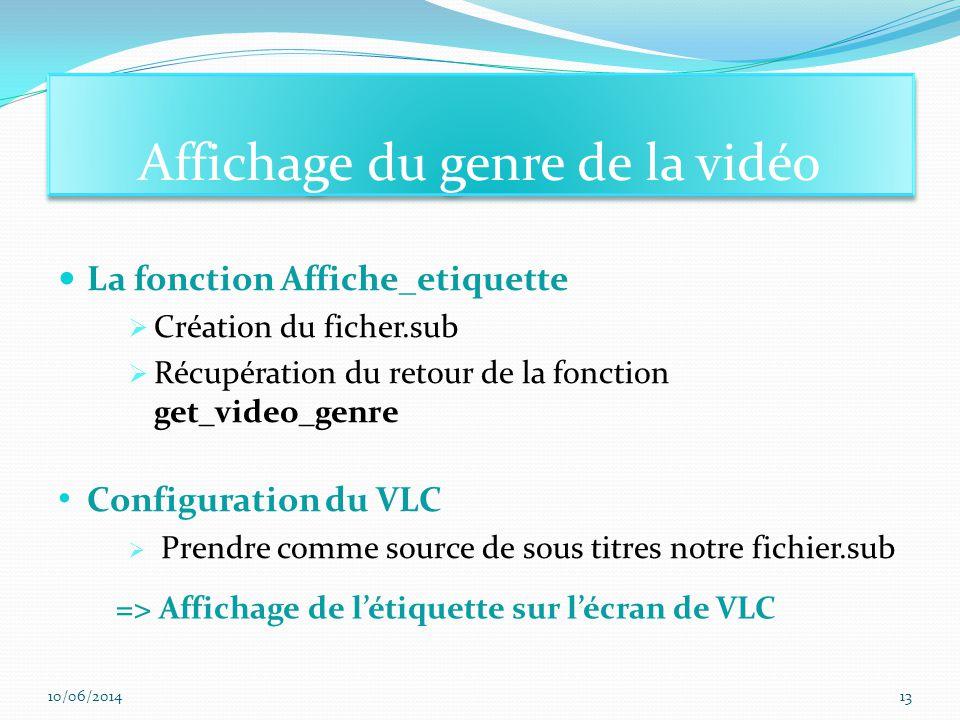 La fonction Affiche_etiquette Création du ficher.sub Récupération du retour de la fonction get_video_genre Configuration du VLC Prendre comme source de sous titres notre fichier.sub Affichage du genre de la vidéo => Affichage de létiquette sur lécran de VLC 10/06/201413