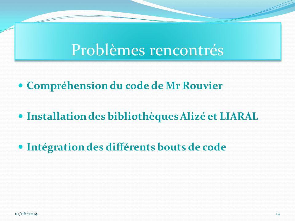 Compréhension du code de Mr Rouvier Installation des bibliothèques Alizé et LIARAL Intégration des différents bouts de code Problèmes rencontrés 10/06