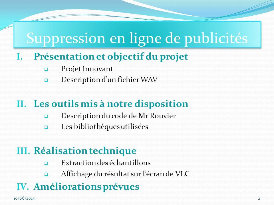 Suppression en ligne de publicités I. Présentation et objectif du projet Projet Innovant Description dun fichier WAV II. Les outils mis à notre dispos