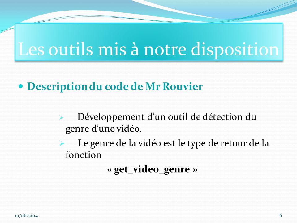 Description du code de Mr Rouvier Développement dun outil de détection du genre dune vidéo.