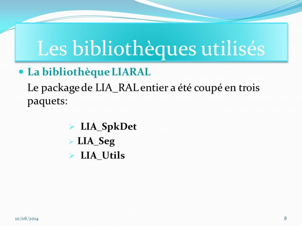 La bibliothèque LIARAL Le package de LIA_RAL entier a été coupé en trois paquets: LIA_SpkDet LIA_Seg LIA_Utils Les bibliothèques utilisés 10/06/20148