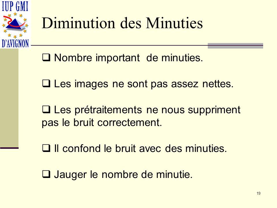 Diminution des Minuties Nombre important de minuties. Les images ne sont pas assez nettes. Les prétraitements ne nous suppriment pas le bruit correcte