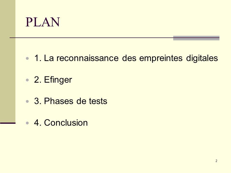 PLAN 1. La reconnaissance des empreintes digitales 2. Efinger 3. Phases de tests 4. Conclusion 2