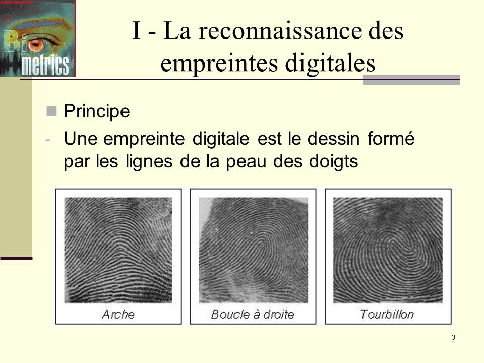 3 I - La reconnaissance des empreintes digitales Principe - Une empreinte digitale est le dessin formé par les lignes de la peau des doigts