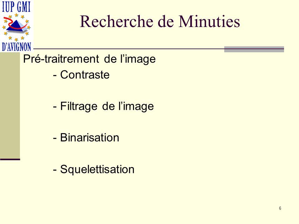 Recherche de Minuties Pré-traitrement de limage - Contraste - Filtrage de limage - Binarisation - Squelettisation 6