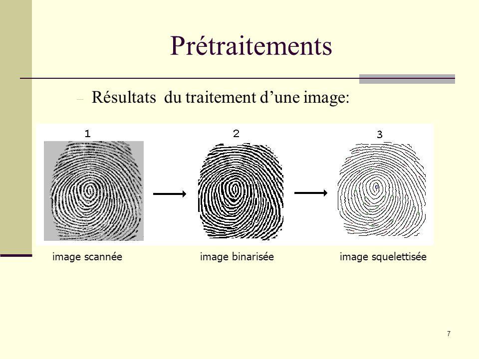 Un algorithme parcourt toute limage pour détecter les minuties Image squellettisée : Détection de minuties Recherche de Minuties 8