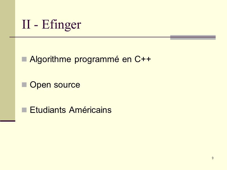 II - Efinger Algorithme programmé en C++ Open source Etudiants Américains 9