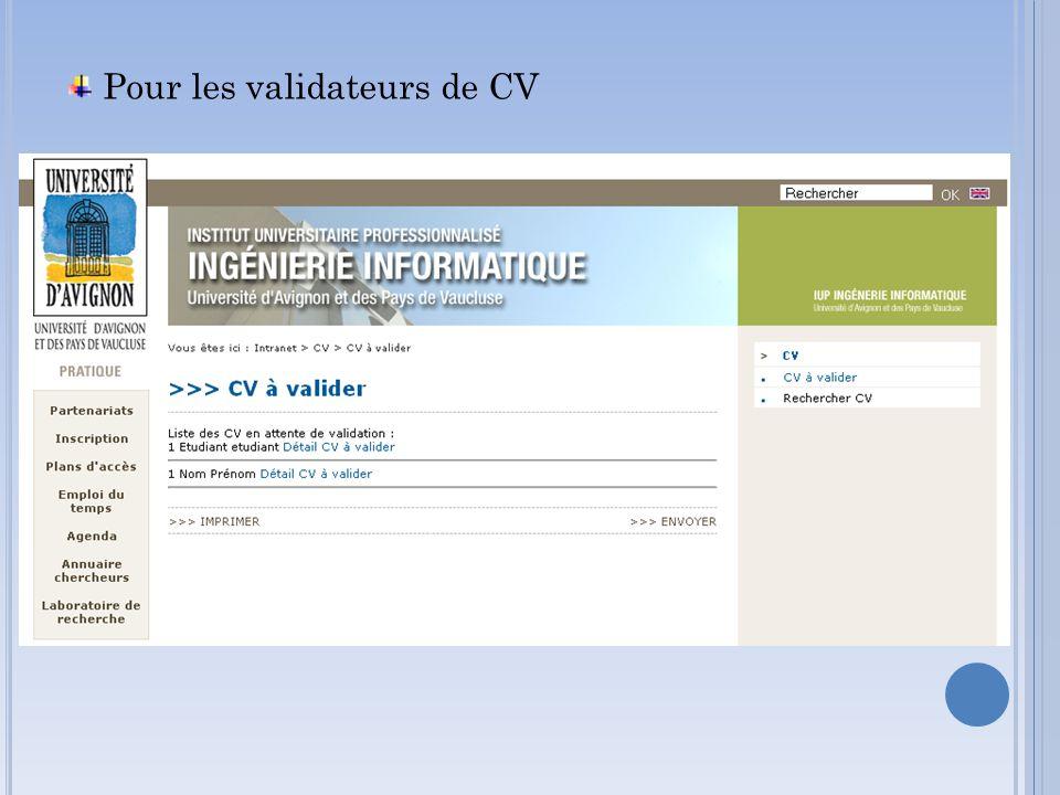Pour les validateurs de CV