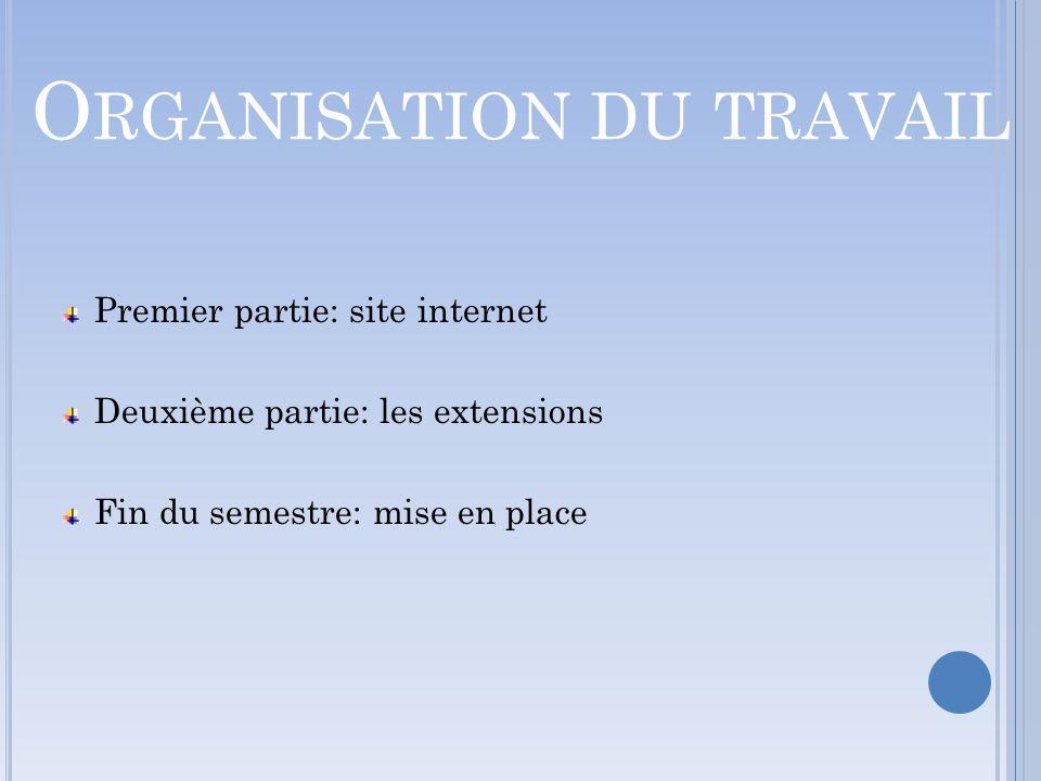 O RGANISATION DU TRAVAIL Premier partie: site internet Deuxième partie: les extensions Fin du semestre: mise en place