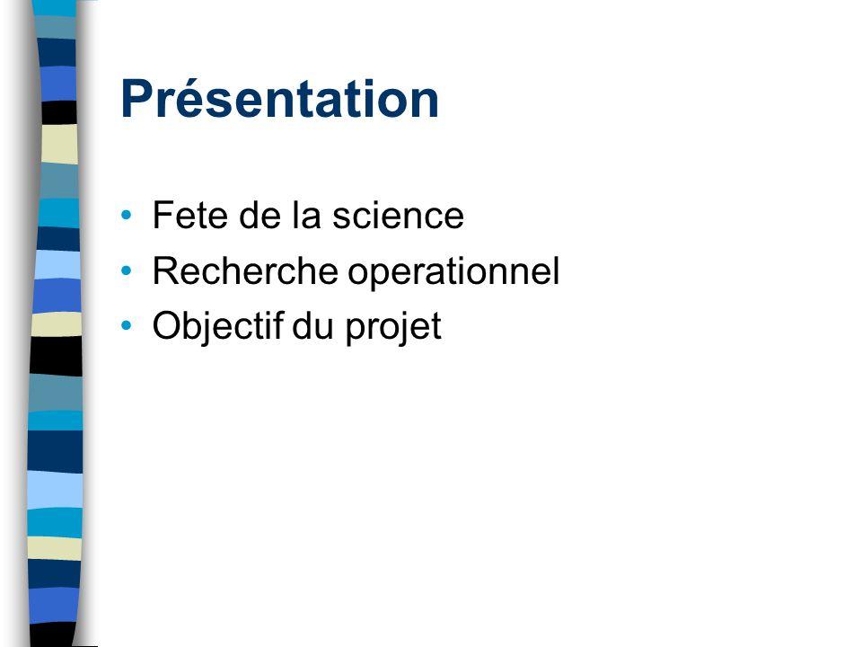 Présentation Fete de la science Recherche operationnel Objectif du projet