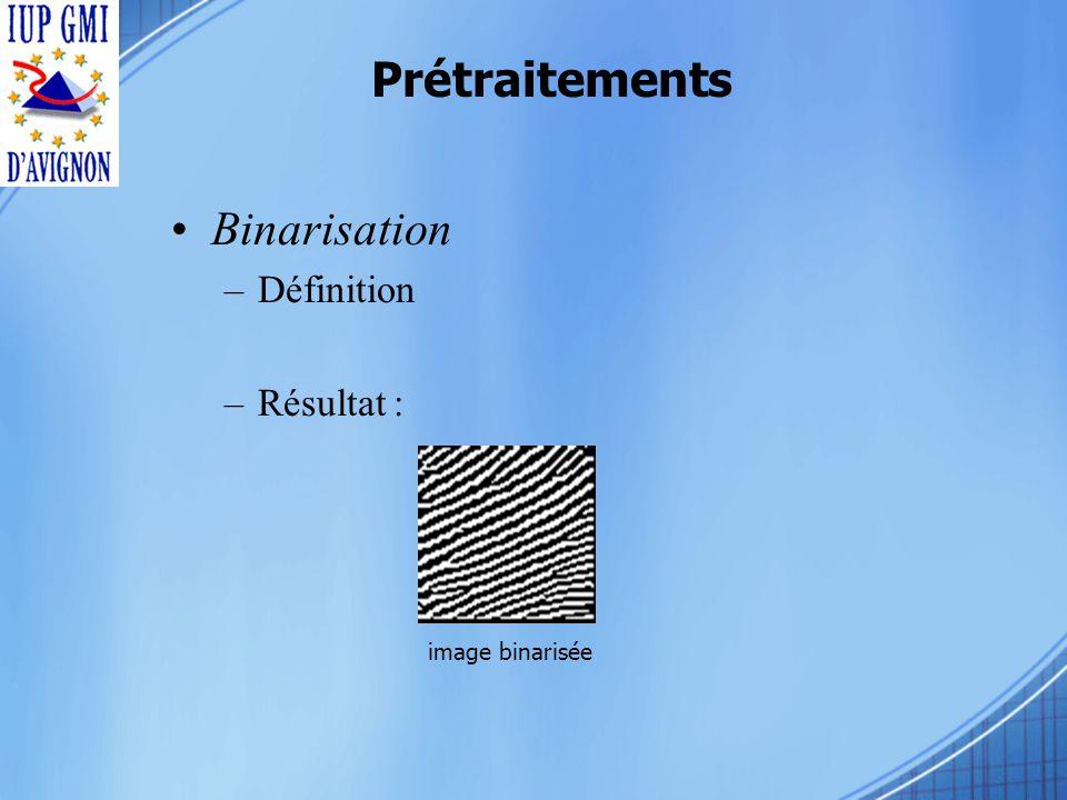 Prétraitements Binarisation –Définition –Résultat : image binarisée