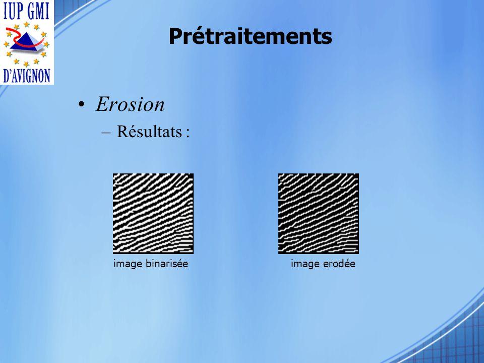 Prétraitements Erosion –Résultats : image binariséeimage erodée