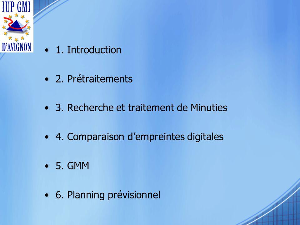 1. Introduction 2. Prétraitements 3. Recherche et traitement de Minuties 4.
