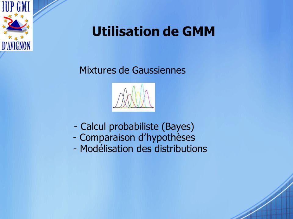 Utilisation de GMM Mixtures de Gaussiennes - Calcul probabiliste (Bayes) - Comparaison dhypothèses - Modélisation des distributions