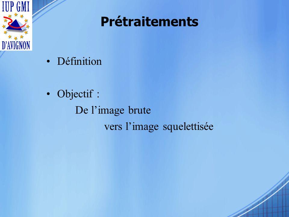 Définition Objectif : De limage brute vers limage squelettisée