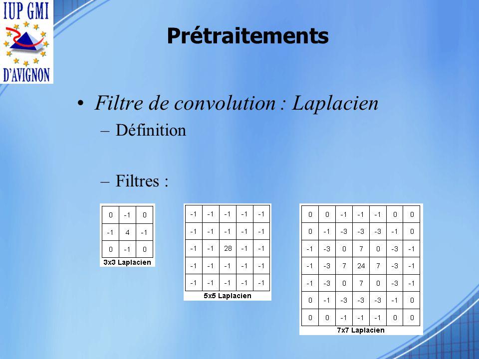 Prétraitements Filtre de convolution : Laplacien –Définition –Filtres :