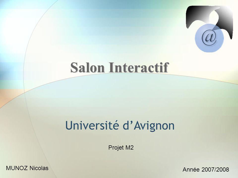 Salon Interactif Université dAvignon Projet M2 MUNOZ Nicolas Année 2007/2008