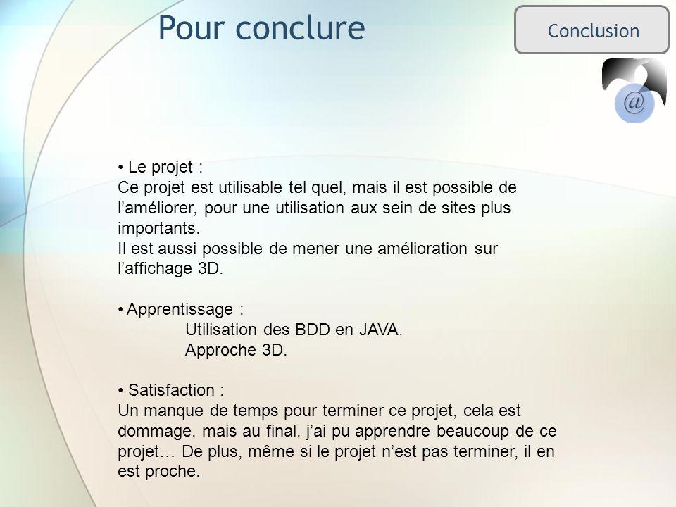 Pour conclure Conclusion Le projet : Ce projet est utilisable tel quel, mais il est possible de laméliorer, pour une utilisation aux sein de sites plus importants.