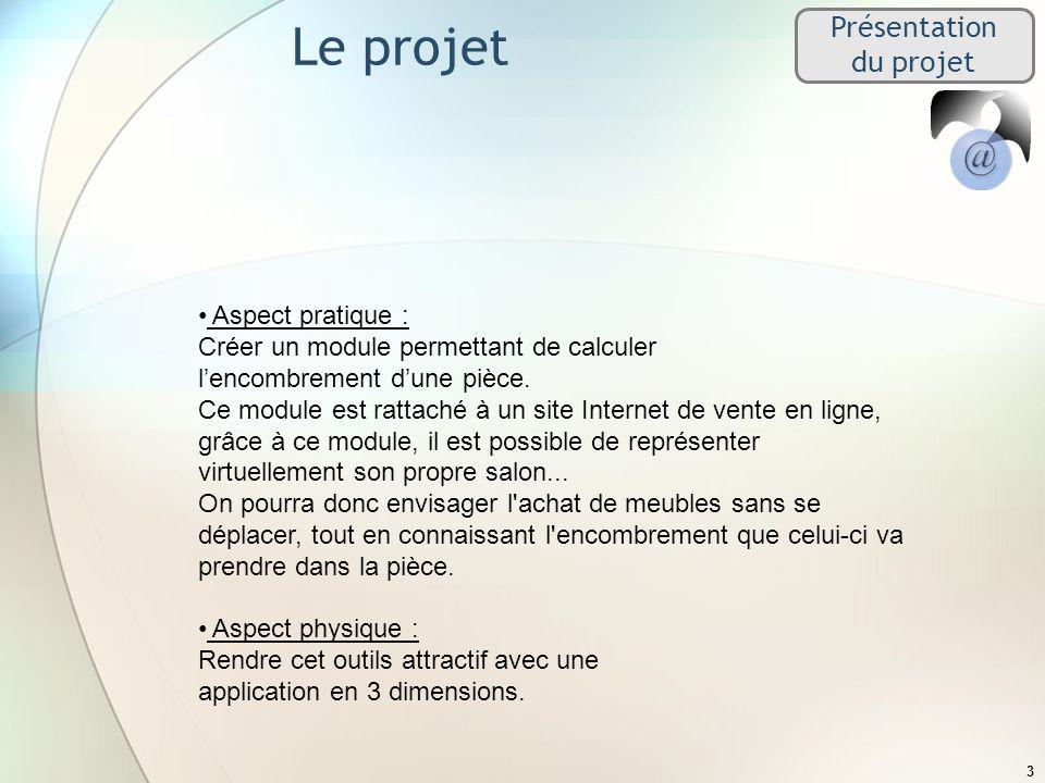 Présentation du projet Le projet 3 Aspect pratique : Créer un module permettant de calculer lencombrement dune pièce. Ce module est rattaché à un site