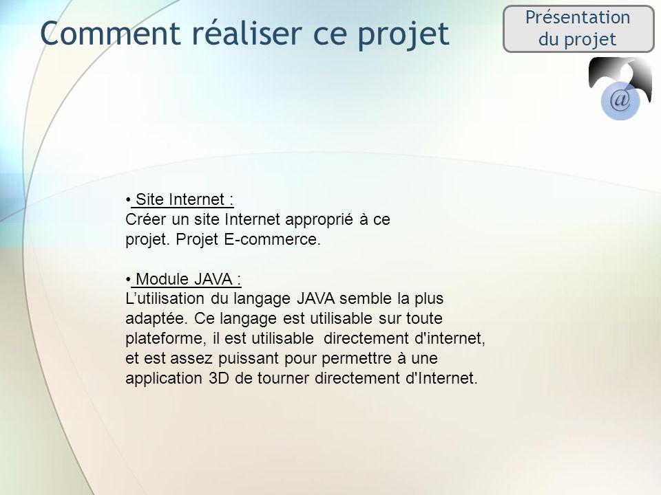 Comment réaliser ce projet Présentation du projet Site Internet : Créer un site Internet approprié à ce projet. Projet E-commerce. Module JAVA : Lutil