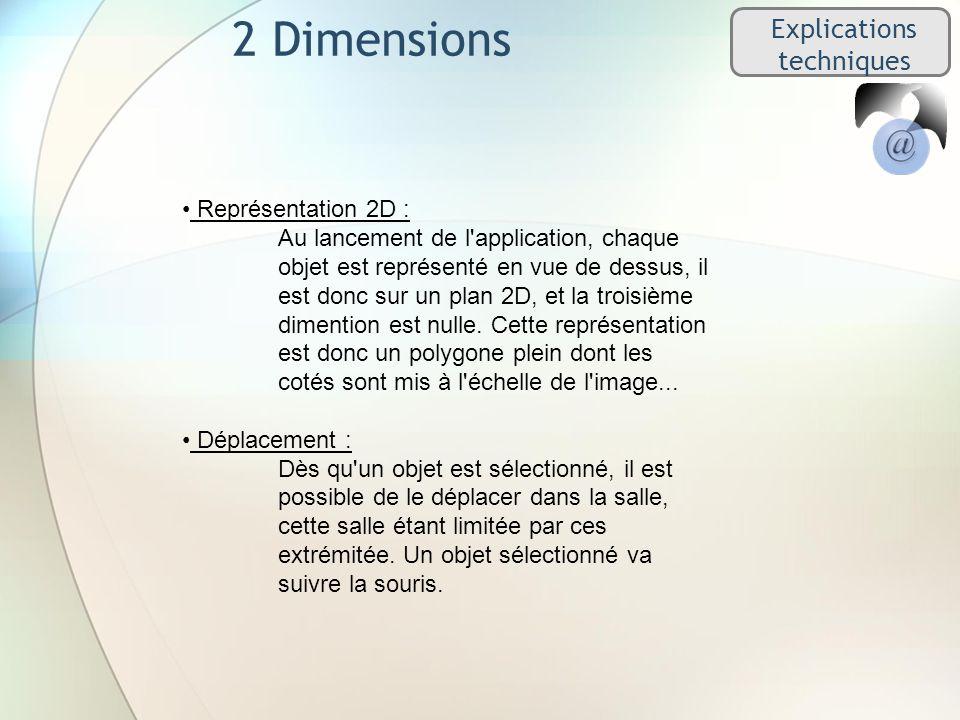 2 Dimensions Explications techniques Représentation 2D : Au lancement de l application, chaque objet est représenté en vue de dessus, il est donc sur un plan 2D, et la troisième dimention est nulle.