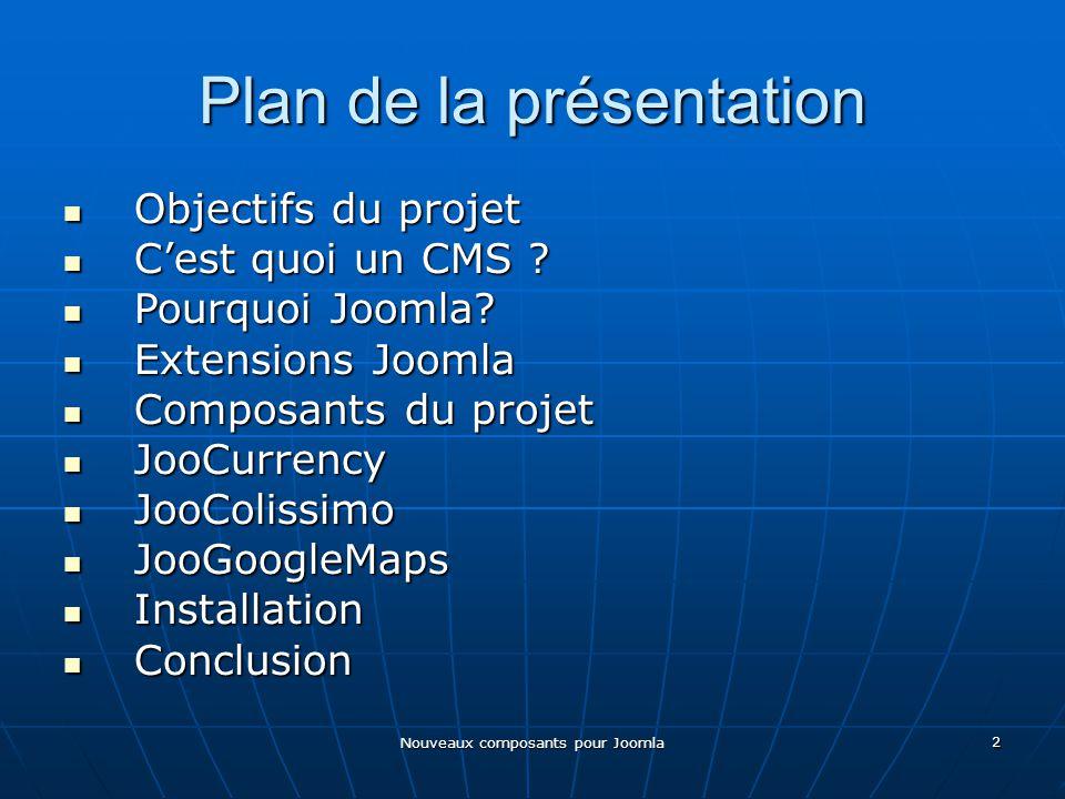 Nouveaux composants pour Joomla 2 Plan de la présentation Objectifs du projet Objectifs du projet Cest quoi un CMS .
