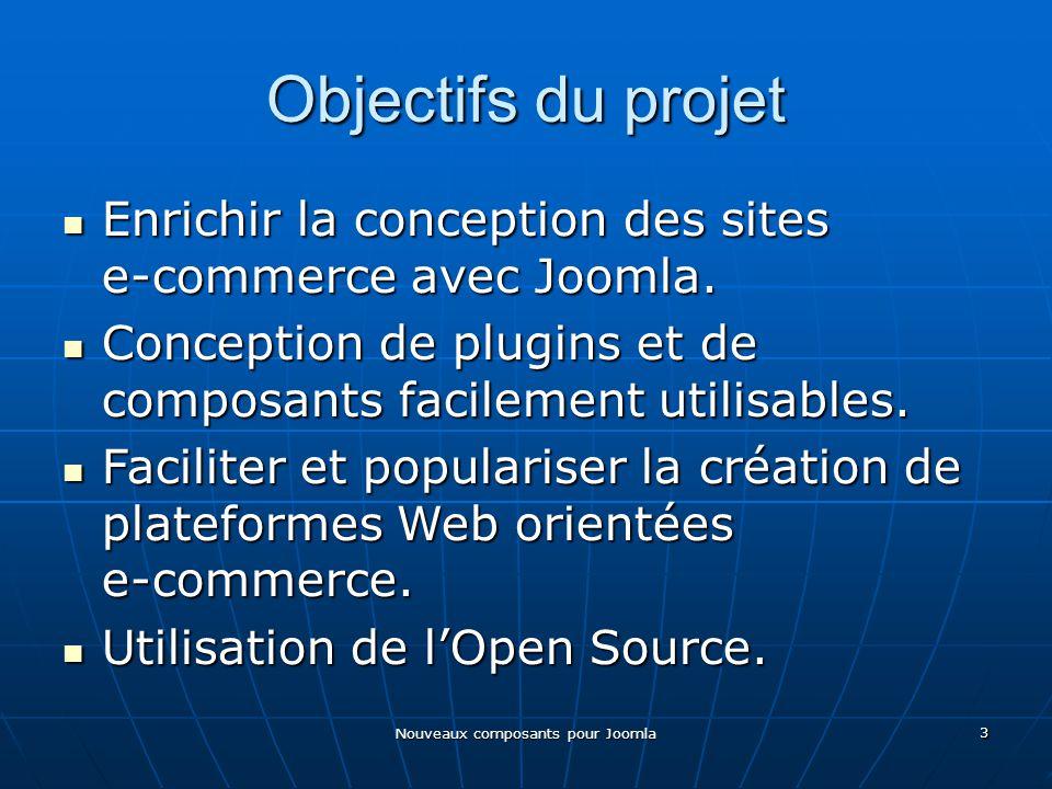 Nouveaux composants pour Joomla 3 Objectifs du projet Enrichir la conception des sites e-commerce avec Joomla.