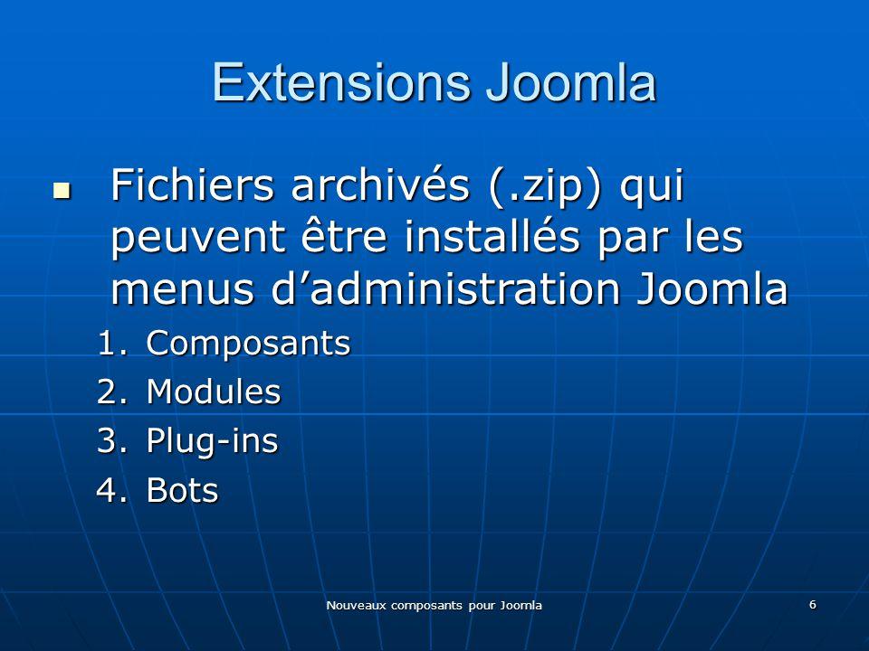 Nouveaux composants pour Joomla 6 Extensions Joomla Fichiers archivés (.zip) qui peuvent être installés par les menus dadministration Joomla Fichiers archivés (.zip) qui peuvent être installés par les menus dadministration Joomla 1.Composants 2.Modules 3.Plug-ins 4.Bots