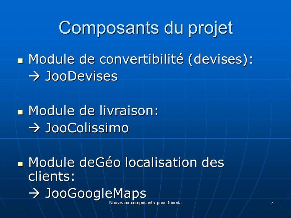 Nouveaux composants pour Joomla 7 Composants du projet Module de convertibilité (devises): Module de convertibilité (devises): JooDevises JooDevises Module de livraison: Module de livraison: JooColissimo JooColissimo Module deGéo localisation des clients: Module deGéo localisation des clients: JooGoogleMaps JooGoogleMaps