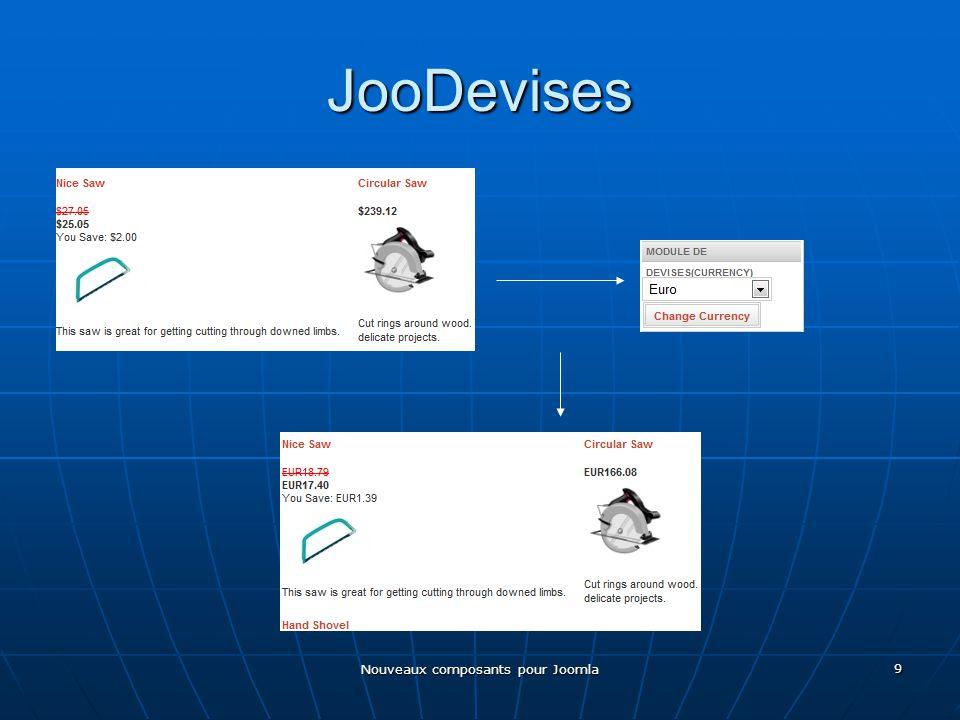 Nouveaux composants pour Joomla 9 JooDevises