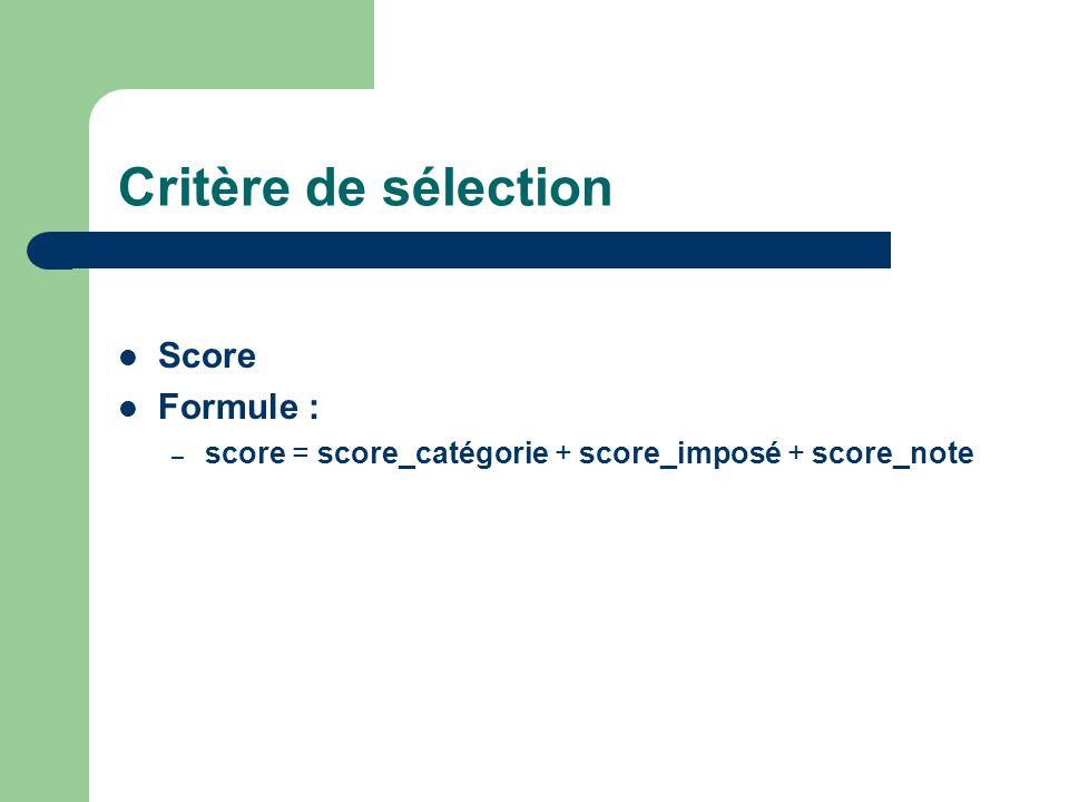 Critère de sélection Score Formule : – score = score_catégorie + score_imposé + score_note