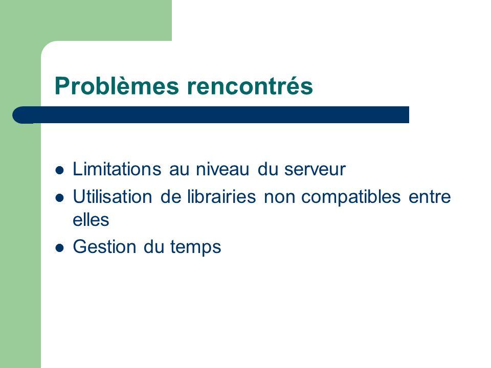 Problèmes rencontrés Limitations au niveau du serveur Utilisation de librairies non compatibles entre elles Gestion du temps