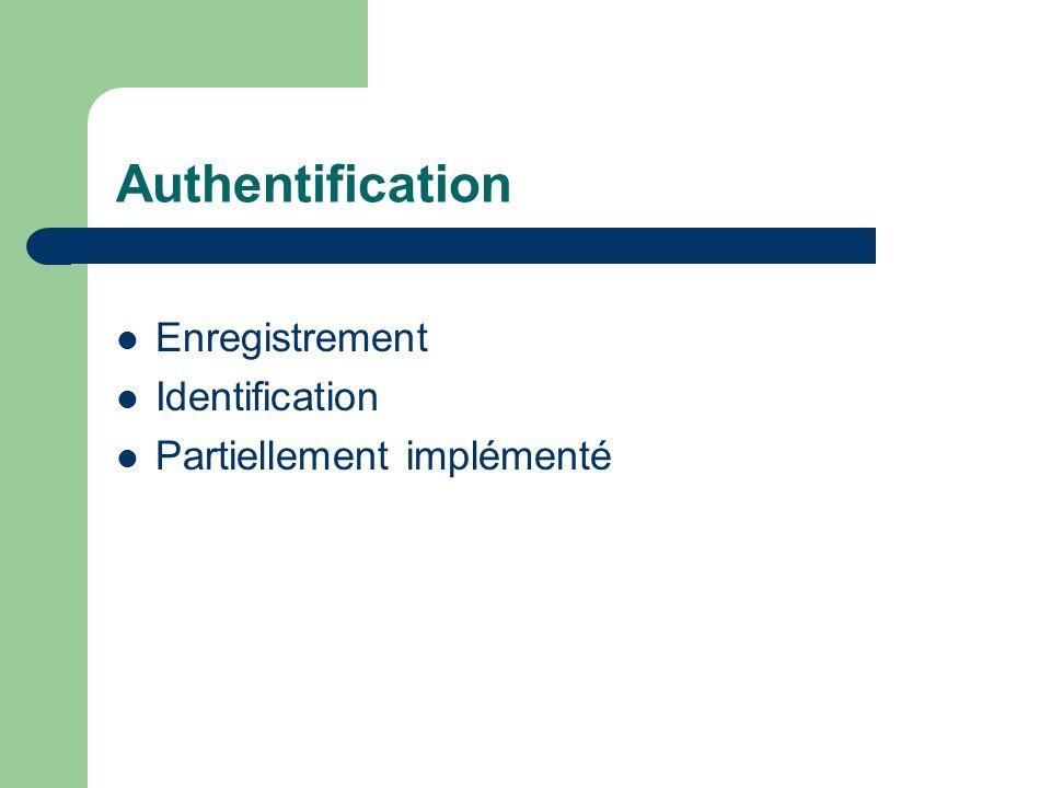 Authentification Enregistrement Identification Partiellement implémenté