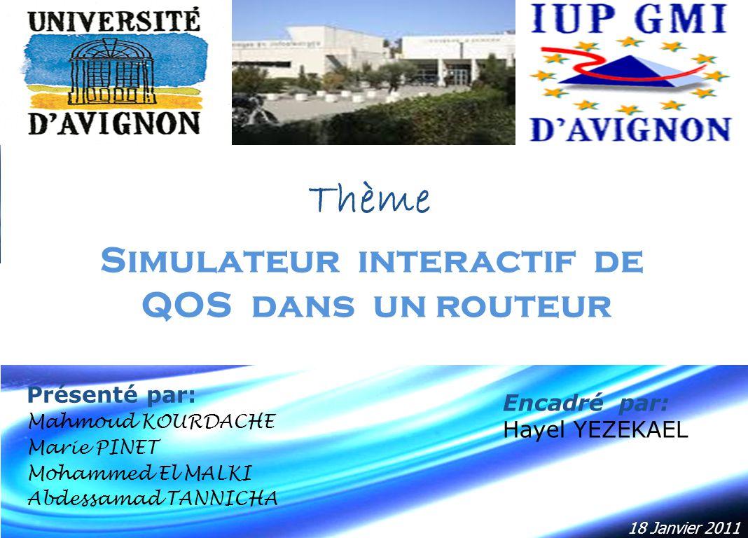 Simulateur interactif de QOS dans un routeur Présenté par: Mahmoud KOURDACHE Marie PINET Mohammed El MALKI Abdessamad TANNICHA 18 Janvier 2011 Thème E