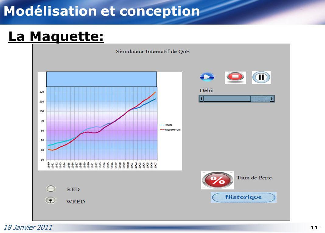Modélisation et conception La Maquette: 18 Janvier 2011 11
