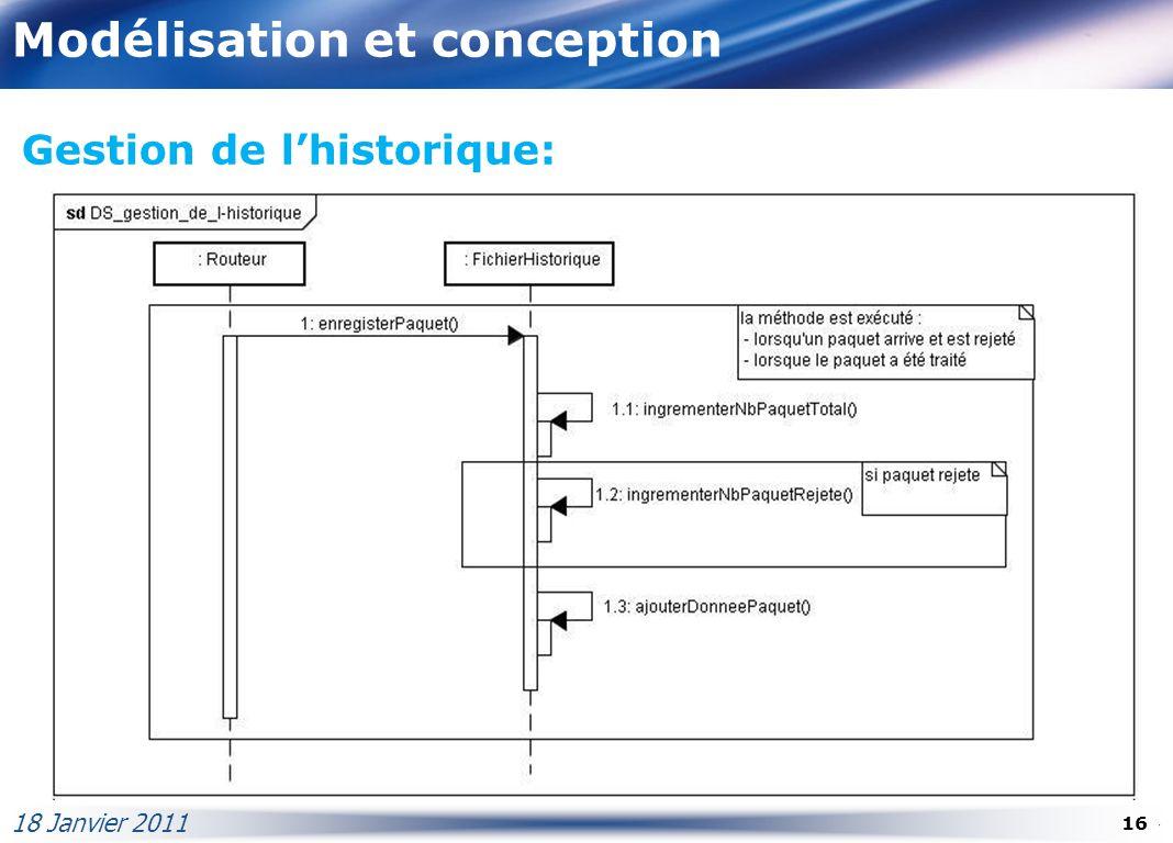 Modélisation et conception 18 Janvier 2011 16 Gestion de lhistorique: