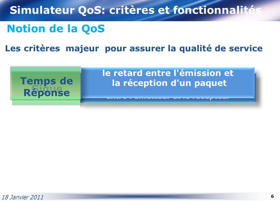 Simulateur QoS: critères et fonctionnalités Notion de la QoS La variation de délai, c'est la constante qui permet de préserver la synchronisation entr