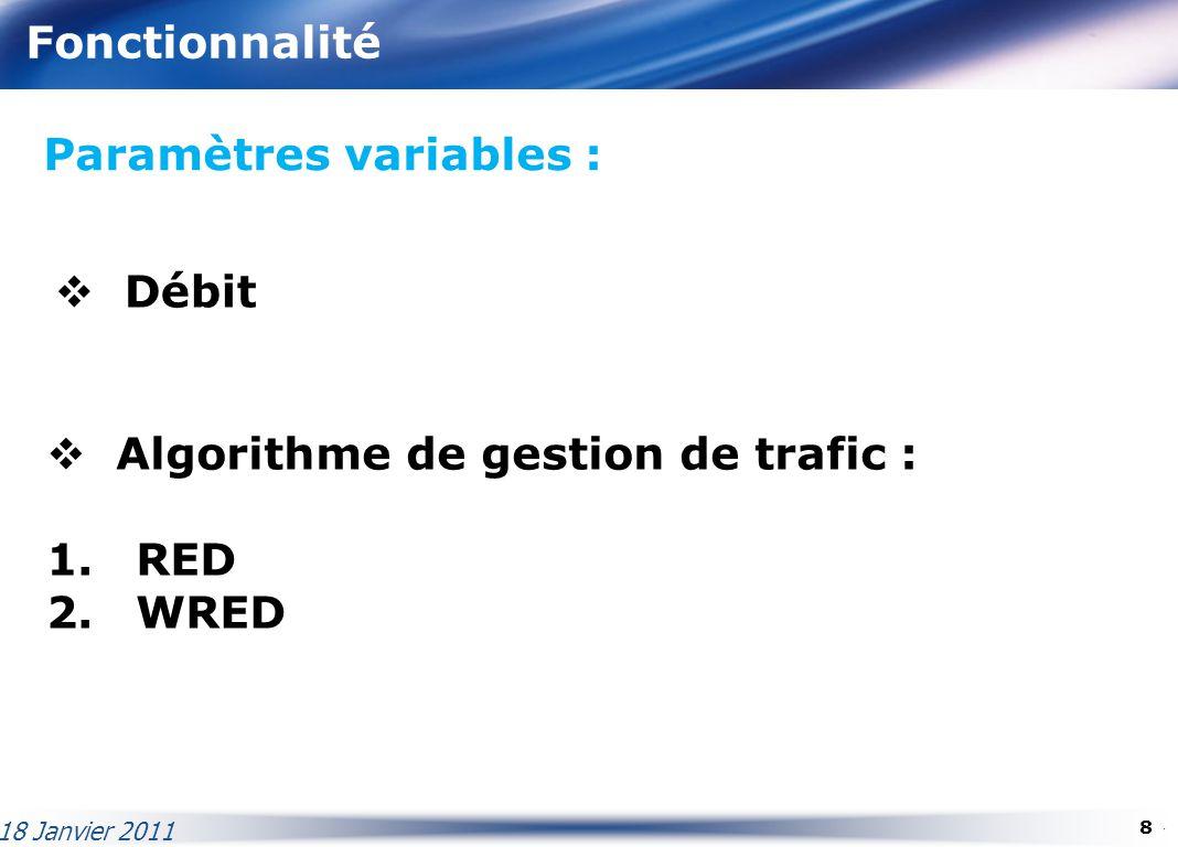 Fonctionnalité Paramètres variables : Débit Algorithme de gestion de trafic : 1. RED 2. WRED 18 Janvier 2011 8