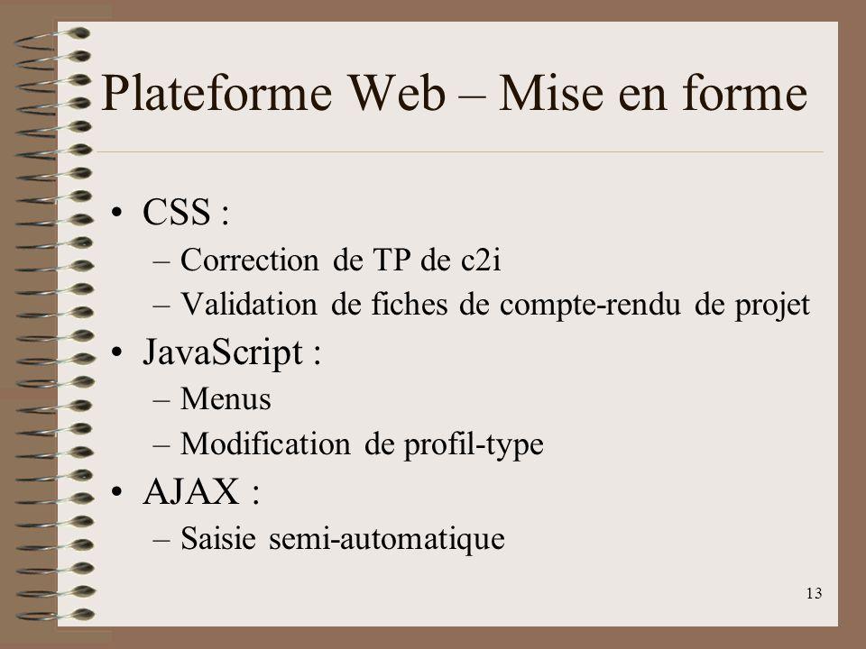 13 Plateforme Web – Mise en forme CSS : –Correction de TP de c2i –Validation de fiches de compte-rendu de projet JavaScript : –Menus –Modification de