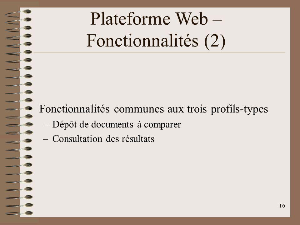 16 Plateforme Web – Fonctionnalités (2) Fonctionnalités communes aux trois profils-types –Dépôt de documents à comparer –Consultation des résultats