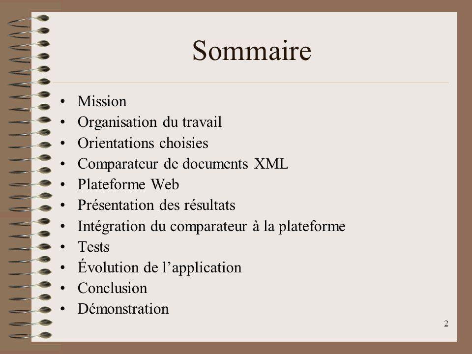 2 Sommaire Mission Organisation du travail Orientations choisies Comparateur de documents XML Plateforme Web Présentation des résultats Intégration du